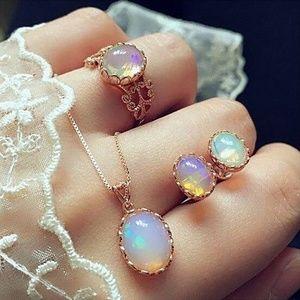 Jewelry - Vintage Opal Jewelry Set Necklace Ring Earrings
